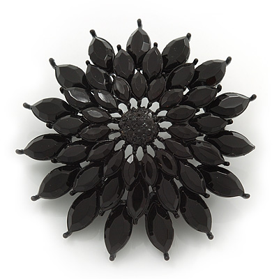 Layered Black Acrylic Floral Brooch In Gun Metal Finish - 5cm Diameter