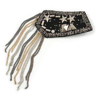 Stars and Tassels Fabric Epaulet Brooch - 10cm Width/ 9cm Tassel