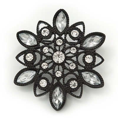 Victorian Style White Acrylic/Clear Crystal Floral Brooch In Black Metal - 4.5cm Diameter - main view