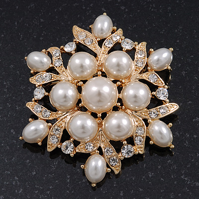 Delicate Pearl/Crystal Floral Brooch In Gold Plating - 5cm Diameter