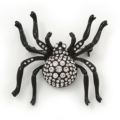 Large Swarovski Crystal 'Spider' Brooch In Black Metal - 6cm Length