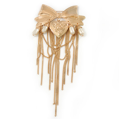 Statement Size Gold Plated Bow and Locket Brooch with Chains and Pearl Dangles - 18cm Long