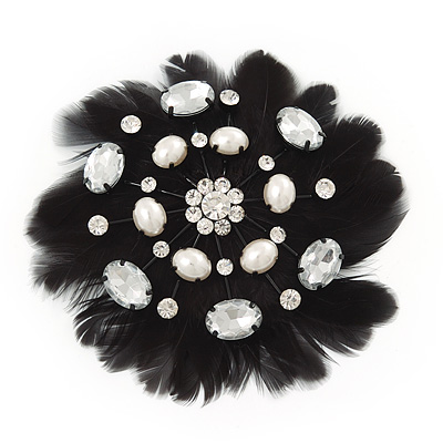 Large Pearl and Swarovski Crystal Beaded Black Feather Brooch - 10cm Length