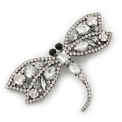 Gigantic Clear Glass Crystal &#039;Dragonfly&#039; Brooch In Gun Metal - 11cm Length