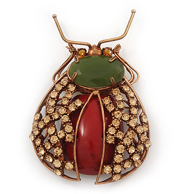 Gumbo Swarovski Crystal Semiprecious Stone 'Bug' Brooch In Copper Finish - 8.5cm Length