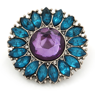 Vintage Teal/Purple Acrylic 'Daisy' Brooch In Burn Silver Finish - 3cm Diameter