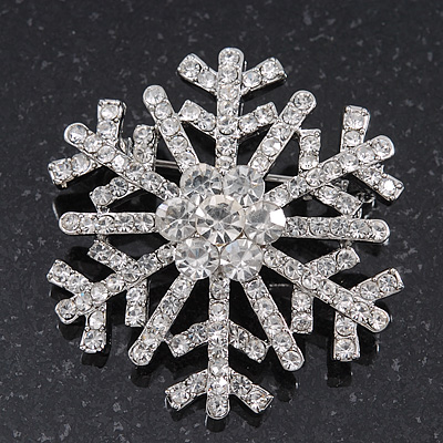 Clear Crystal 'Snowflake' Brooch In Silver Plating - 4cm Diameter