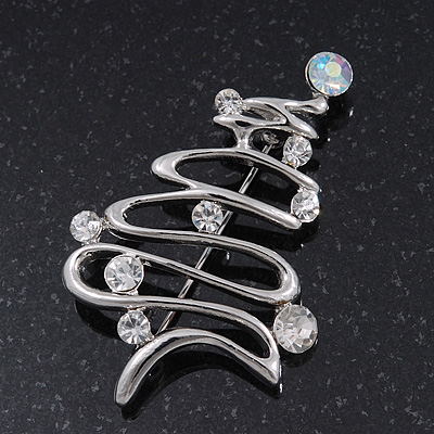 Silver Plated Clear Crystal &#039;Christmas Tree&#039; Brooch - 5.5cm Length