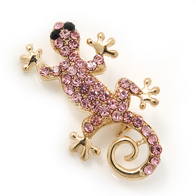 Small Light Pink Crystal 'Lizard' Brooch In Gold Plating - 3.5cm Length