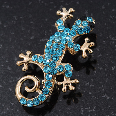 Small Light Blue Crystal &#039;Lizard&#039; Brooch In Gold Plating - 3.5cm Length