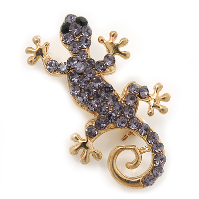 Small Violet Crystal 'Lizard' Brooch In Gold Plating - 3.5cm Length