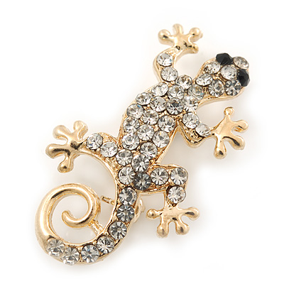 Small Clear Crystal &#039;Lizard&#039; Brooch In Gold Plating - 3.5cm Length