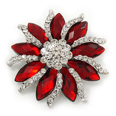 Red/Clear Diamante Floral Corsage Brooch In Silver Metal - 5.5cm Diameter