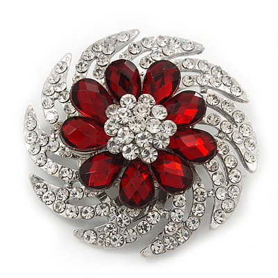 Red/Clear Diamante Flower Scarf Pin Brooch In Silver Plating - 5.5cm Diameter