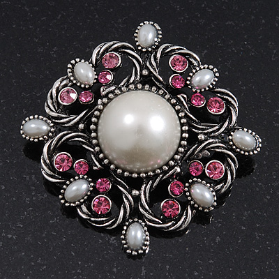 Vintage Bridal Corsage Faux Pearl Fuchsia Crystal Brooch/Pendant In Burn Silver Metal - 4.5cm Diameter