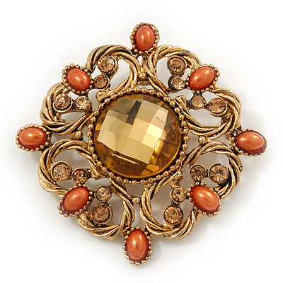Vintage Topaz Crystal Orange Bead Brooch/Pendant In Gold Metal - 4.5cm