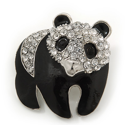 Black/Clear 'Panda Bear' Brooch In Silver Plating - 3.5cm Length