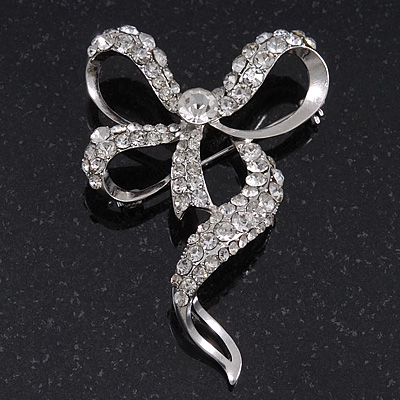 Dazzling Diamante 'Bow' Brooch In Rhodium Plated Metal - 7cm Length
