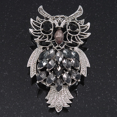Oversized Rhodium Plated Filigree Dim Grey Crystal 'Owl' Brooch - 7.5cm Length