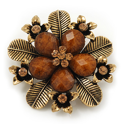 'Botanica' Flower Brooch In Antique Gold Finish Crystal/Stone (Brown)  - 6.5cm Diameter