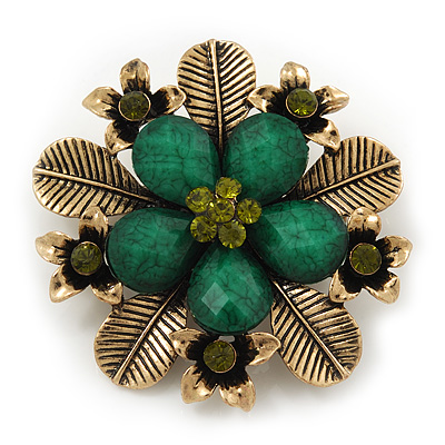 'Botanica' Flower Brooch In Antique Gold Finish Crystal/Stone (Green) - 6.5cm Diameter