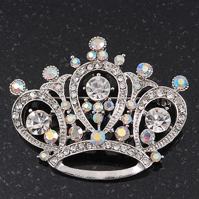 Clear & AB Crystal 'Princess' Crown Brooch In Rhodium Plated Metal - 4.5cm Length