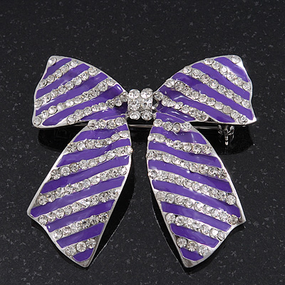 Large Purple Enamel Diamante 'Bow' Brooch In Rhodium Plating - 6cm Length