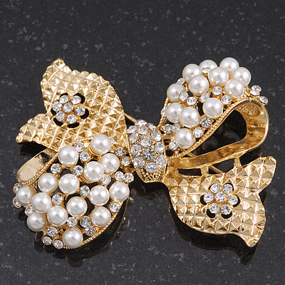 Gold Plated White Pearl Diamante 'Bow' Brooch - 5cm Length