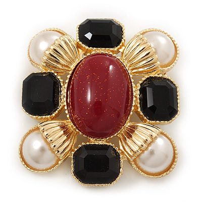 Square Pearl, Black Glass, Red Stone Brooch In Gold Plating - 5cm Length