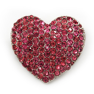 Pink Swarovski Crystal Pave Set 'Heart' Brooch In Silver Plating - 3.5cm Length