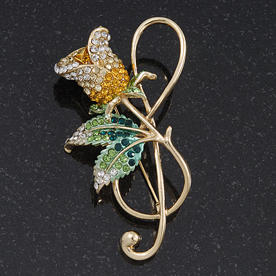 Large Gold Plated Treble Clef &amp; Swarovski Crystal Rose Brooch - 7cm Length