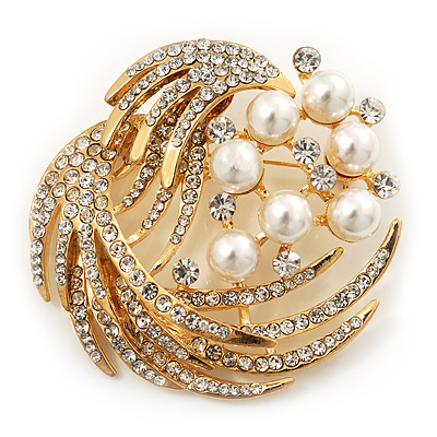 Gold Plated Simulated Pearl/ Swarovski Crystal 'Wings' Corsage Brooch - 5.5cm Diameter