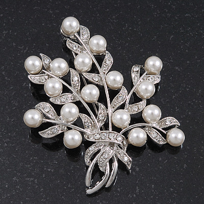 White Pearl/ Clear Crystal Floral Brooch In Rhodium Plating - 6cm Length