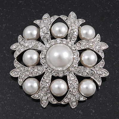 Bridal Swarovski Crystal/ Simulated Pearl Corsage Brooch In Rhodium Plating - 5cm Diameter