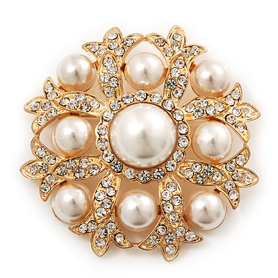 Bridal Swarovski Crystal/ Pearl Corsage Brooch In Gold Plating - 5cm Diameter