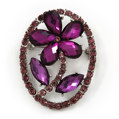 Purple Crystal Daisy In The Oval Frame  Brooch In Silver Plating - 4.5cm Length - main view