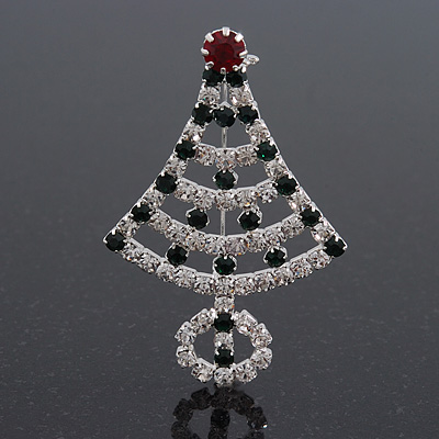 Green/Red/White Crystal &#039;Christmas Tree&#039; Brooch In Silver Plating - 6cm Length