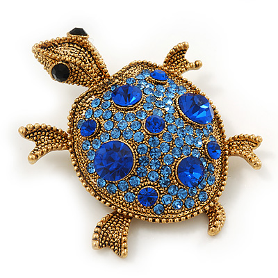 Sapphire/ Sky Blue Coloured Swarovski Crystal 'Turtle' Brooch In Gold Plating - 5.5cm Length
