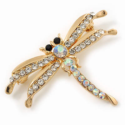 Delicate AB/ Clear Crystal &#039;Dragonfly&#039; Brooch In Gold Plating - 5cm Width