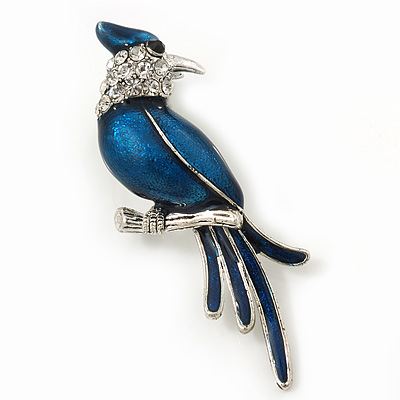 Dark Blue Enamel Exotic 'Bird' Brooch In Rhodium Plating - 5.5cm Length