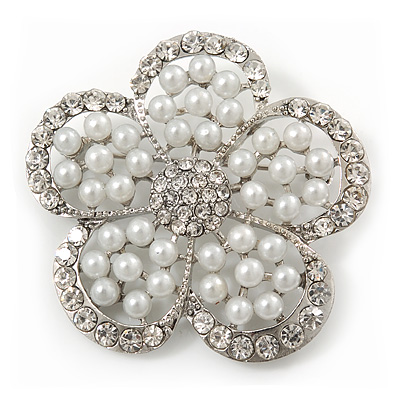 Wedding Pearl Diamante 'Flower' Brooch In Rhodium Plating - 4.5cm Diameter