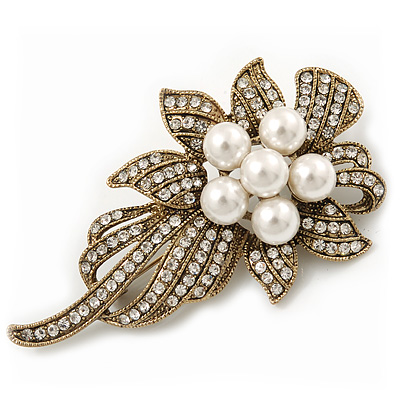 Vintage Bridal Swarovski Crystal Faux Pearl Floral Brooch In Burn Gold Tone - 7cm Length - main view