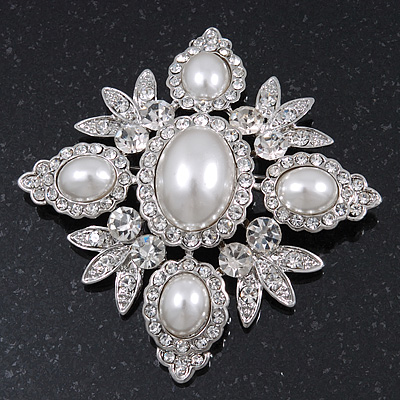 Bridal Swarovski Crystal Pearl Style Brooch In Rhodium Plating - 6cm Length