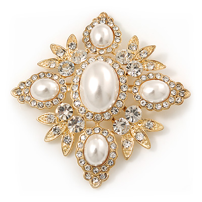 Bridal Swarovski Crystal Pearl Style Brooch In Gold Plating - 6cm Length