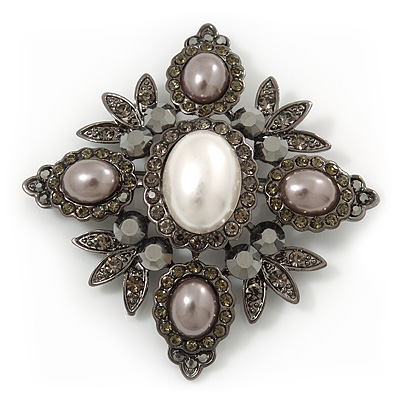 Swarovski Crystal Imitation Pearl Corsage Brooch In Gun Metal Finish - 6cm Length - main view