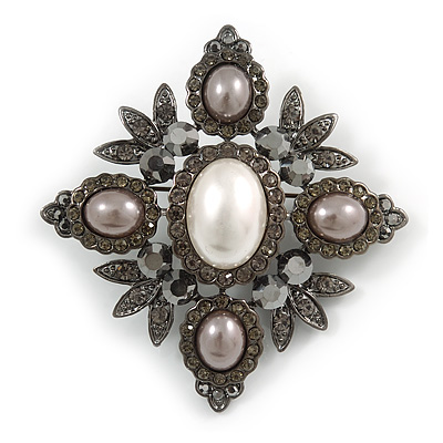 Swarovski Crystal Imitation Pearl Corsage Brooch In Gun Metal Finish - 6cm Length