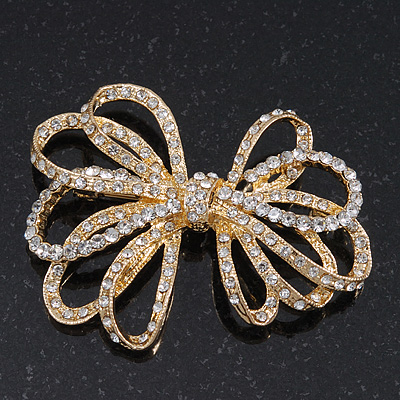Clear Crystal Open 'Bow' Brooch In Gold Tone Metal - 5.5cm Width