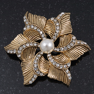 Vintage Textured Diamante, Pearl 'Flower' Brooch In Burn Gold Tone - 5cm Diameter