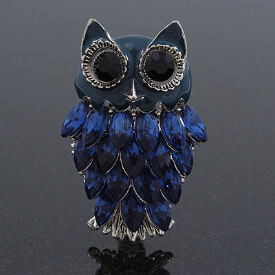 Navy Blue Diamante Enamel 'Owl' Brooch In Rhodium Plating - 5cm Length