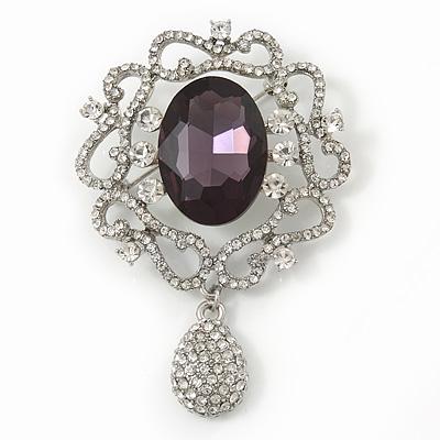 Swarovski Crystal and Violet Oval Jewel Filigree Drop Charm Brooch (Rhodium Plated) -  65mm Long